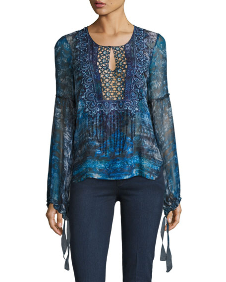 Elie Tahari Avan Long-Sleeve Lace-Trim Chiffon Blouse, Blue