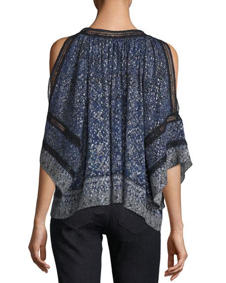 Mika Cold-Shoulder Floral Silk-Blend Blouse, Medium Blue