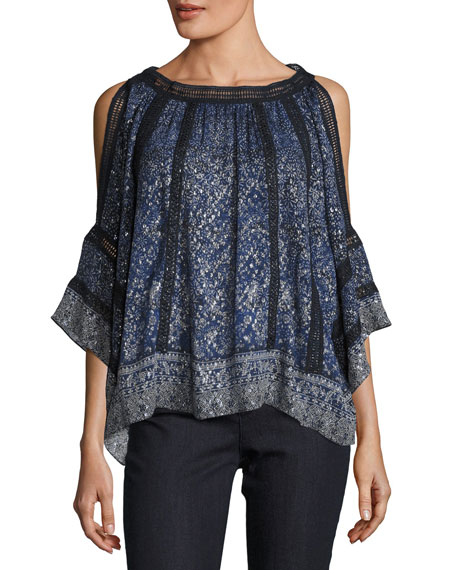 Elie Tahari Mika Cold-Shoulder Floral Silk-Blend Blouse, Medium