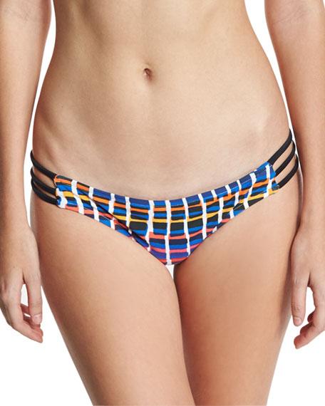 Milly Lanai Giraffe-Print Strappy Swim Bikini Bottom, Multicolor