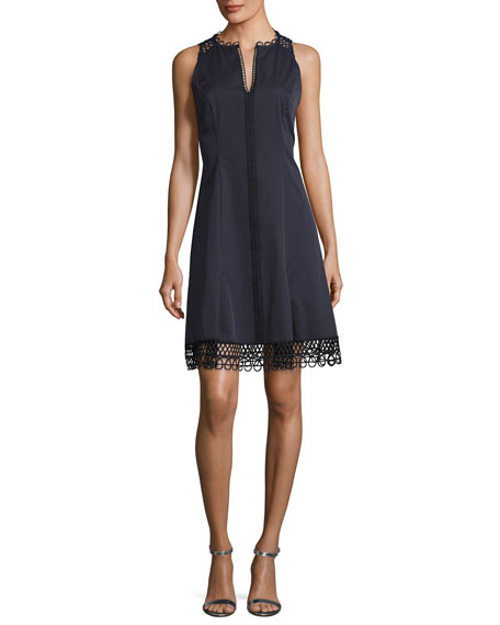 Elie Tahari Loz Sleeveless Lace-Trim A-Line Dress, Navy