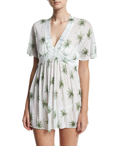 Milly Bari Palm Tree Printed Coverup Dress, White/Green