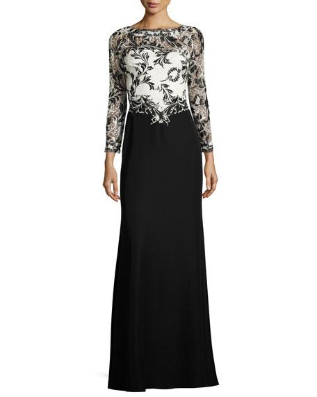 Tadashi Shoji Two-Tone Lace & Crepe Gown, Black