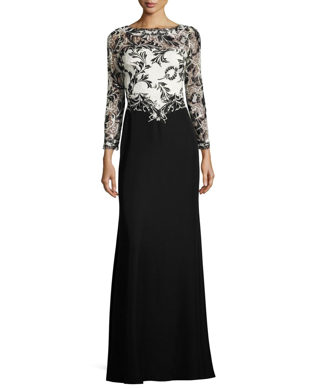 Tadashi Shoji Two-Tone Lace & Crepe Gown, Black | Neiman Marcus
