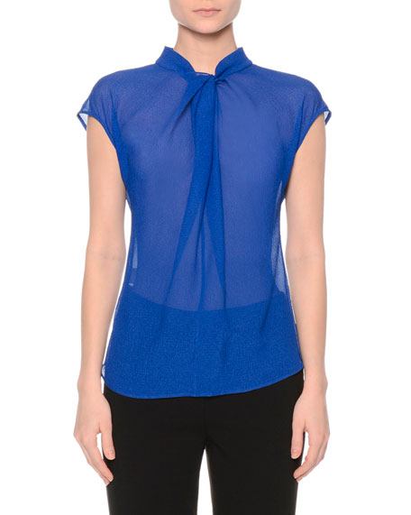 Giorgio Armani Gathered Organza Cap-Sleeve Blouse