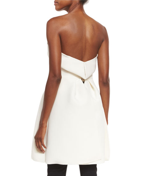 Strapless Sweetheart-Neck Bustier Top, Ivory