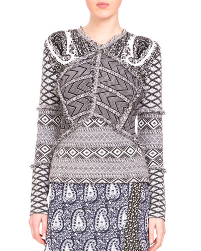 Patchwork Paisley-Print Sweater, Gray