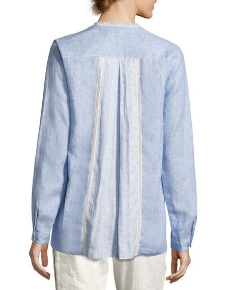 Buffy Lace-Trim Linen Blouse, Medium Blue