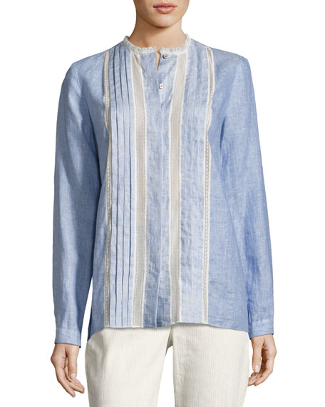 Elie Tahari Buffy Lace-Trim Linen Blouse, Medium Blue