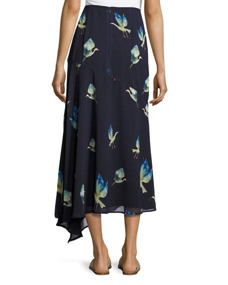 Crane-Print Chiffon Maxi Skirt, Multi