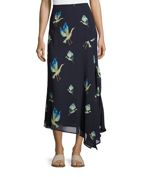 GREY by Jason Wu Crane-Print Chiffon Maxi Skirt,