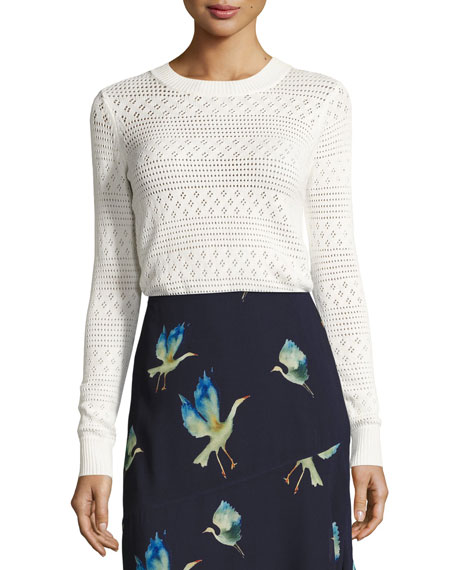 GREY by Jason Wu Open-Knit Crewneck Sweater, White