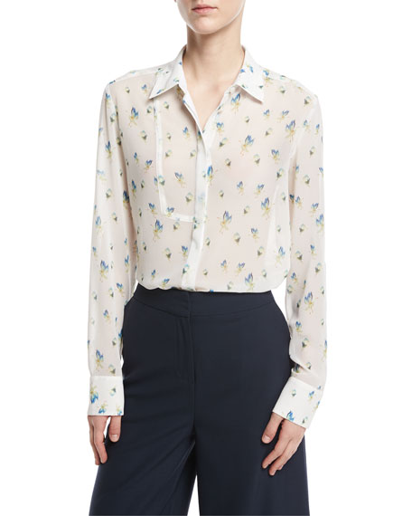 GREY by Jason Wu Long-Sleeve Crane-Print Button-Front Blouse,