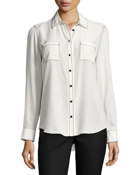 kate spade new york contrast-stitch silk shirt, french