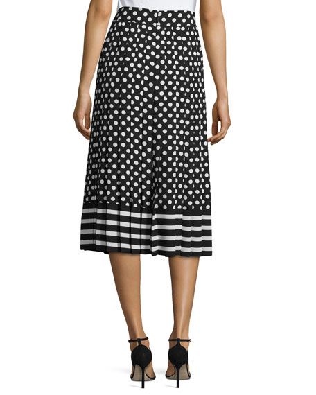 6977a48c596d dotted & striped pleated midi skirt, black/cream