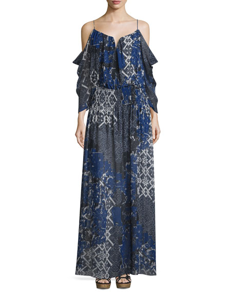 3/4 Sleeve Tarnished Textile Print Maxi Dress, Multi