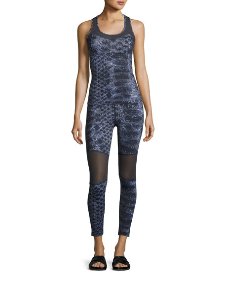Sycamore Mesh-Panel Compression Running Tights, Navy