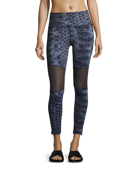 Varley Sycamore Mesh-Panel Compression Running Tights, Navy