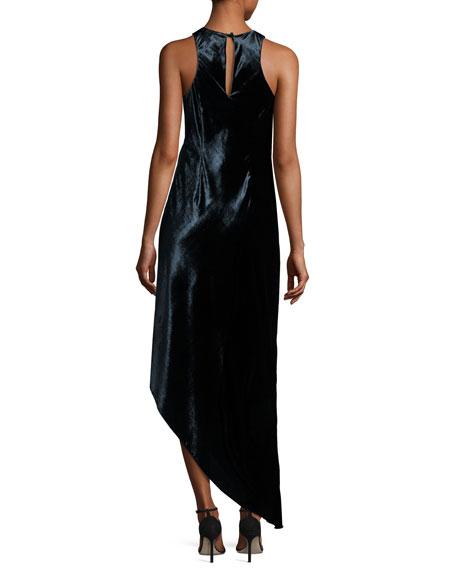 Sleeveless Asymmetric Panne Velvet Dress, Twilight