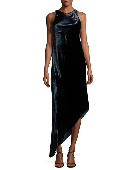 Aidan Mattox Sleeveless Asymmetric Panne Velvet Dress, Twilight