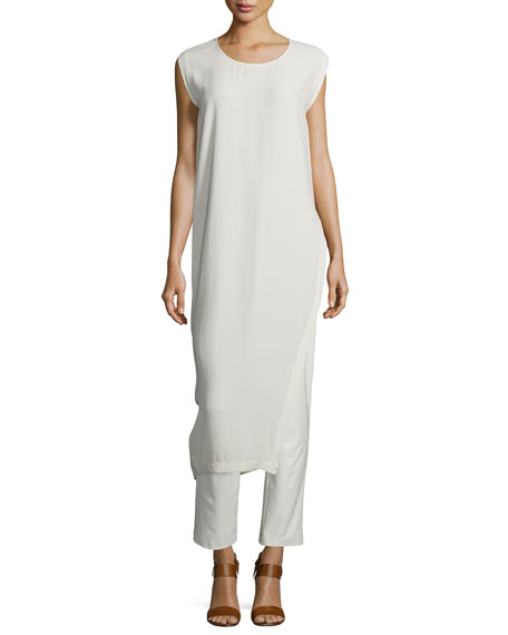 Eileen Fisher Long Asymmetric Silk Georgette Crepe Tunic