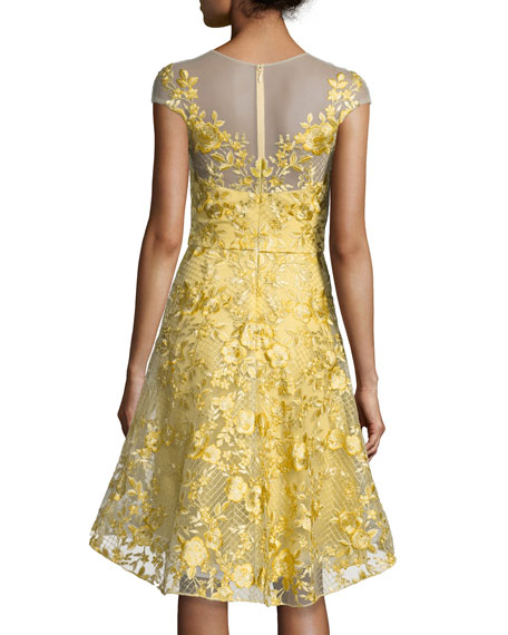 Floral Lace Illusion Cocktail Dress, Bright Yellow