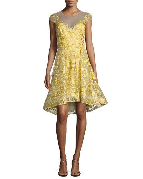 Marchesa Notte Floral Lace Illusion Cocktail Dress, Bright