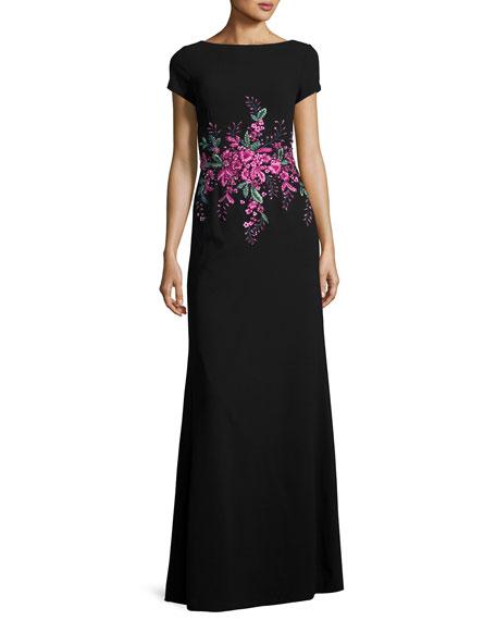 Short-Sleeve Floral Embellished Gown, Black/Pink