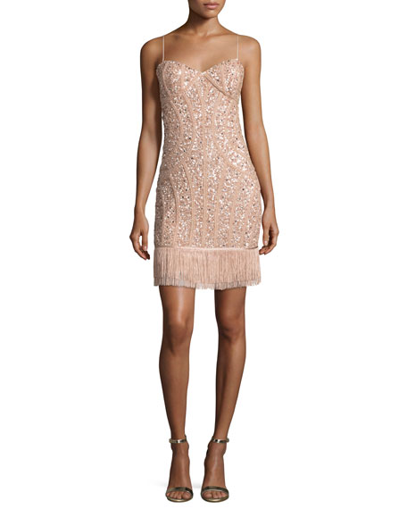 Aidan Mattox Sequined Fringe Cocktail Dress, Blush