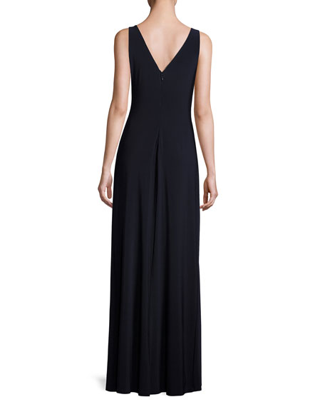 Sleeveless Shirred Jersey Column Gown, Dark Blue