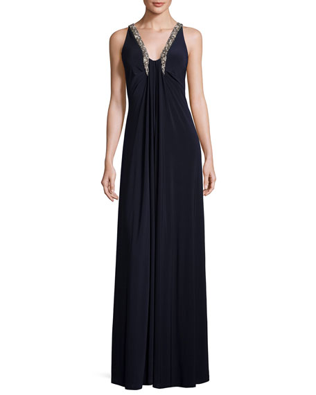 Aidan Mattox Sleeveless Shirred Jersey Column Gown, Dark