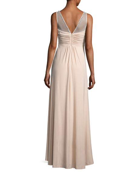 Embellished Twist-Front Column Gown, Nude