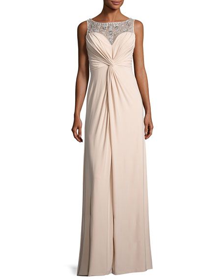 Aidan Mattox Embellished Twist-Front Column Gown, Nude