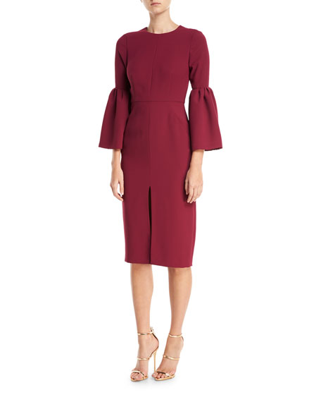 Jill Jill Stuart Bell-Sleeve Slit-Front Sheath Cocktail Dress,