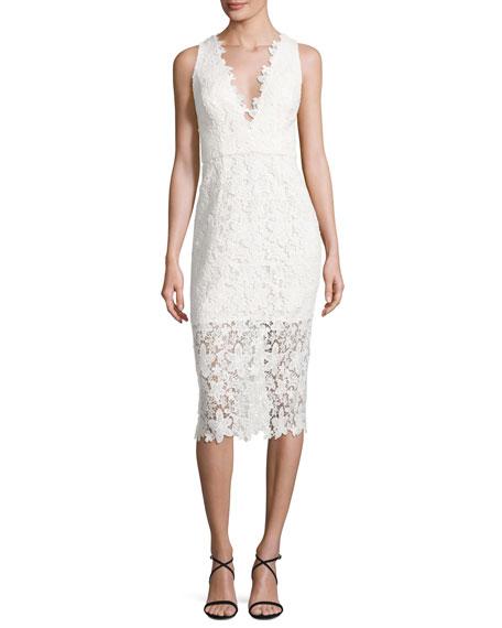 Jill Jill Stuart Sleeveless V-Neck Lace Sheath Dress,