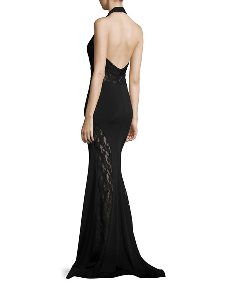 Plunging V-Neck Mermaid Gown w/ Lace Panels
