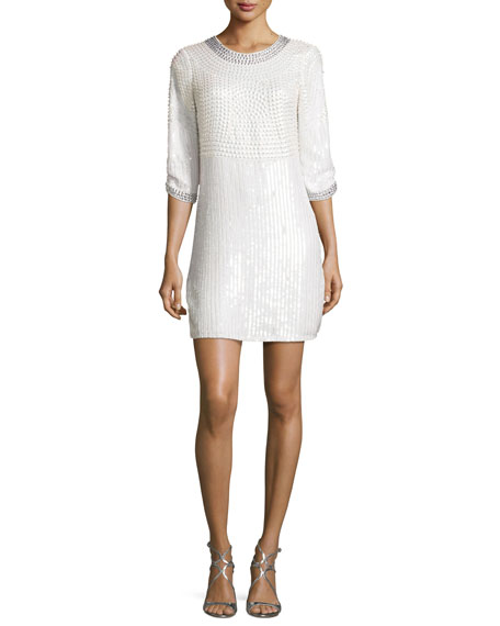 Petra 3/4-Sleeve Embellished Mini Cocktail Dress, Ivory