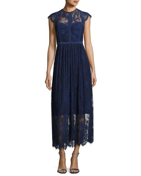 Parker Tesoro Cap-Sleeve Embroidered Midi Dress, Blue