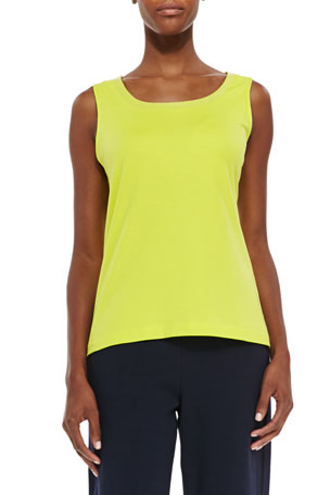 Joan Vass Petite Sequined Trim Tank, Wild Lime