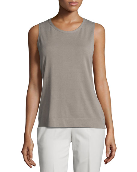 Lafayette 148 New York Full Needle-Stitch Knit Shell