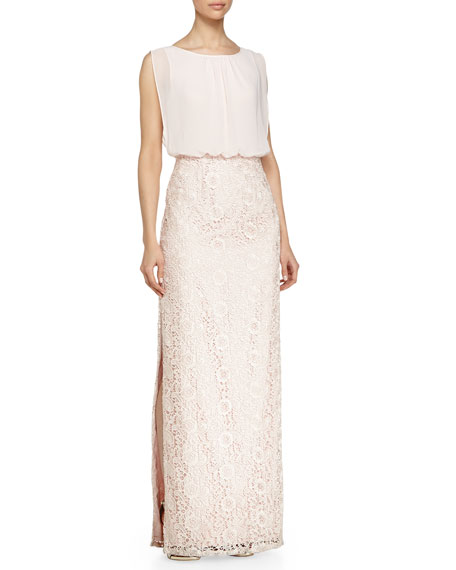 Aidan Mattox Chiffon-Top Lace-Skirt Gown, Petal