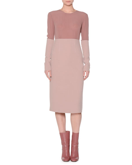 Agnona Colorblock Boucle Long-Sleeve Dress, Pink