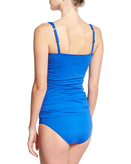 Pearl Solids Ruched Tankini Swim Top, Blue