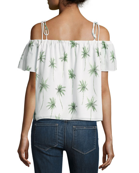 Eden Off-the-Shoulder Palm Tree-Print Silk Top, Multi