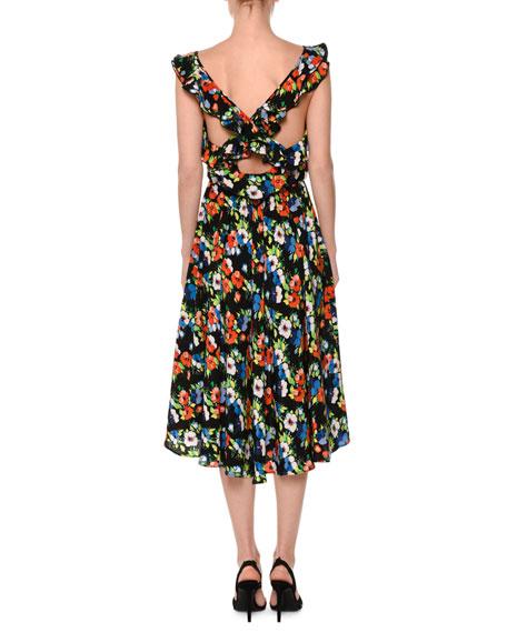 Floral Sleeveless Silk Midi Dress, Multicolor