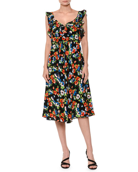 MSGM Floral Sleeveless Silk Midi Dress, Multicolor