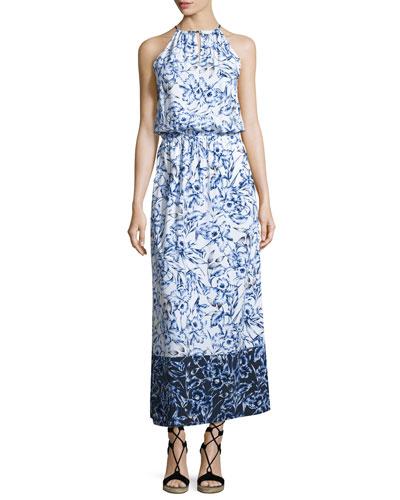 Sketchbook Blossoms Halter Maxi Dress, Blue/White
