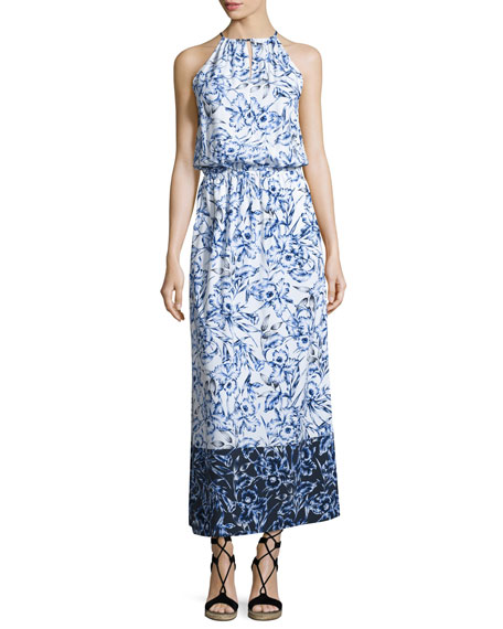 Sketchbook Blossoms Halter Maxi Dress, Blue/White