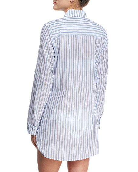 Ticking Stripe Boyfriend Beach Shirt, White