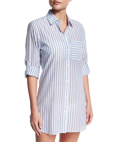 Ticking Stripe Boyfriend Beach Shirt, White